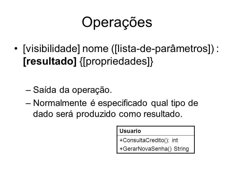 Operações [visibilidade] nome ([lista-de-parâmetros]) : [resultado] {[propriedades]} Saída da operação.